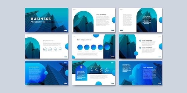 Projekt prezentacji niebieskiego szablonu i projekt układu strony dla broszury, książki, czasopisma, raportu rocznego i profilu firmy