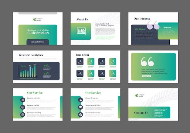 Projekt przewodnika prezentacji biznesowych | szablon slajdu | suwak przewodnika sprzedaży
