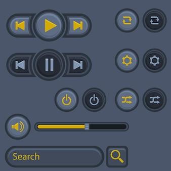 Projekt przycisku muzycznego interfejsu użytkownika. projektowanie technologii w trzech wymiarach