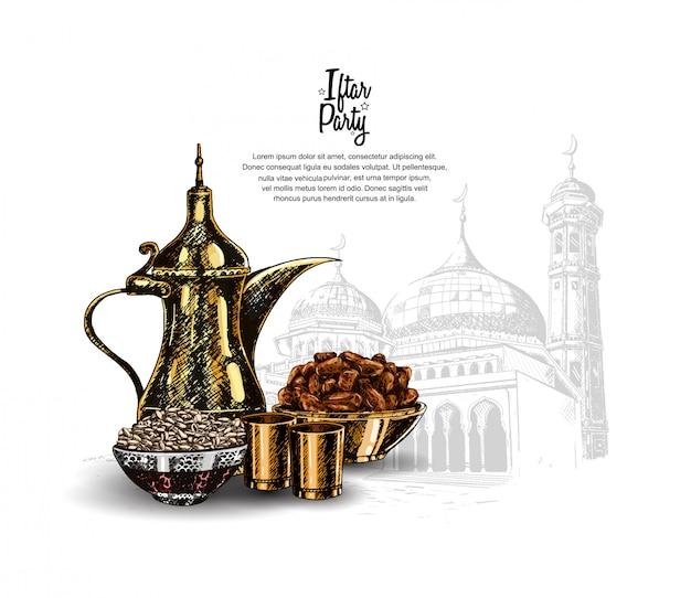 Projekt przyjęcia iftar dla świętego ramadanu