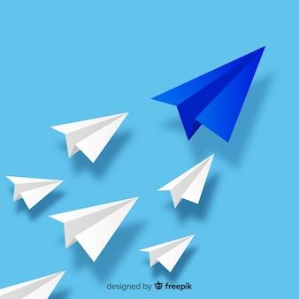 Projekt przywództwa z papierowymi samolotami