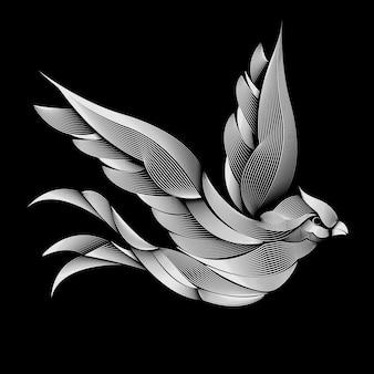 Projekt ptaka. styl linoryt.