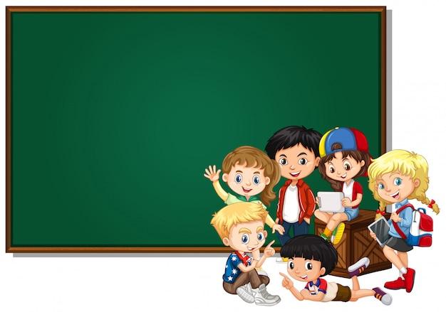 Projekt puste transparent z szczęśliwych dzieci