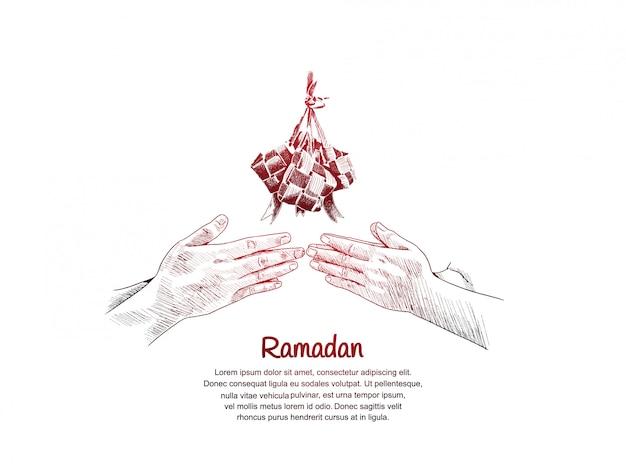 Projekt ramadanu ze znakiem wybaczenia dłoni i ketupatem