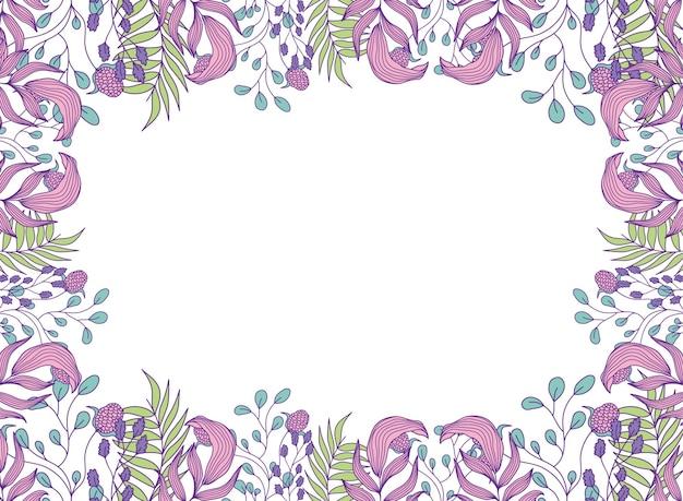 Projekt ramy botanicznej liści roślin botanicznych ozdoba botaniczna kwiatowa natura