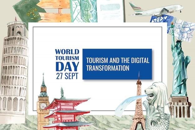 Projekt ramy turystycznej z krzywą wieżą w pizie, merlion, eifel tower.
