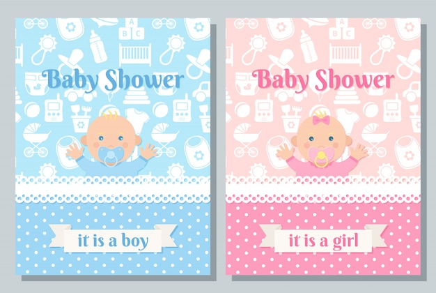 Projekt reeting karty baby shower. zestaw