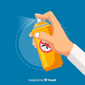 Projekt ręki trzymającej spray na komary