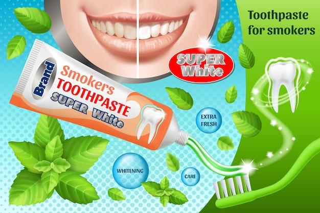 Projekt reklam pasty do zębów. produkt kosmetyczny.