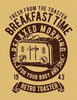 Projekt retro ilustracja toster