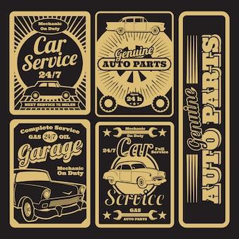 Projekt retro samochodów i etykiet garażowych