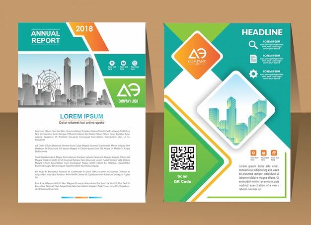 Projekt rocznego raportu okładka wektor szablon ulotki broszury