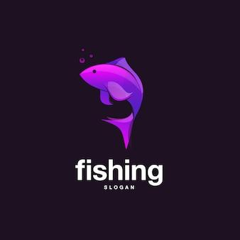 Projekt ryby z fioletowym kolorem gradientu