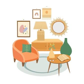 Projekt salonu w stylu boho