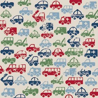 Projekt samochodów na beżowym tle ilustracji wektorowych