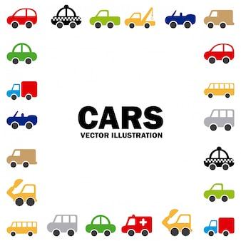 Projekt samochodów na białym tle ilustracji wektorowych