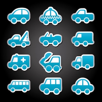 Projekt samochodów na czarnym tle ilustracji wektorowych