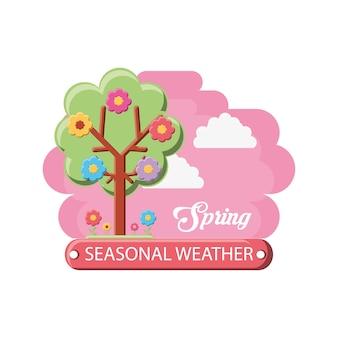 Projekt sezon wiosna z ikoną kwiatowy drzewo