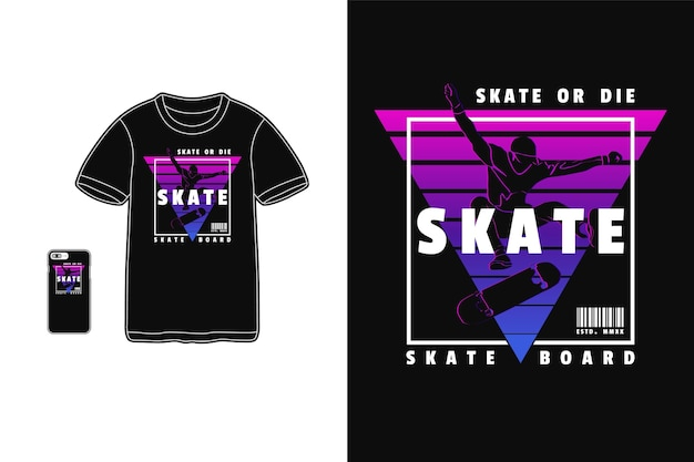 Projekt skate dla t shirt sylwetka w stylu retro