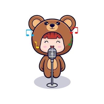 Projekt śliczna dziewczyna ubrana w kostium niedźwiedzia śpiewa