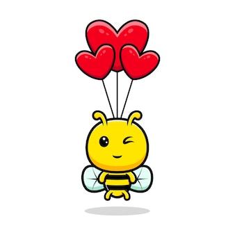 Projekt śliczna pszczoła miodna unosząca się z ilustracją balonu serca
