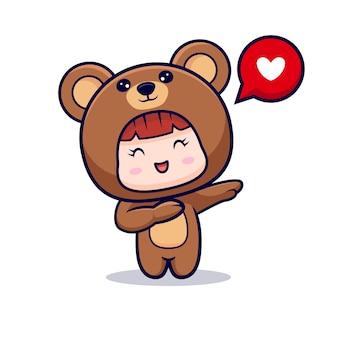 Projekt ślicznej dziewczyny w kostiumie niedźwiedzia dabbingującego z miłością