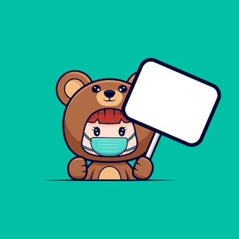 Projekt ślicznej dziewczyny w kostiumie niedźwiedzia z maskującym i trzymającym pustą tablicę tekstową