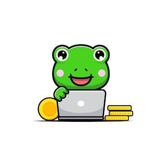Projekt ślicznej żaby z komputerem i złotymi monetami