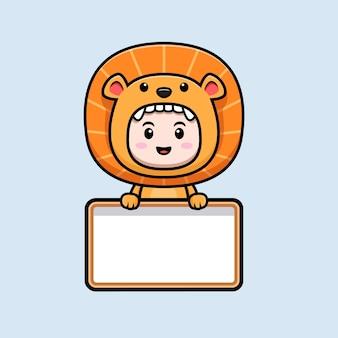 Projekt słodkiego chłopca w kostiumie lwa trzymającego pustą tablicę tekstową ikona ilustracja