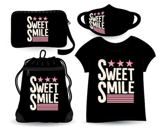 Projekt słodkiego uśmiechu na koszulkach i gadżetach