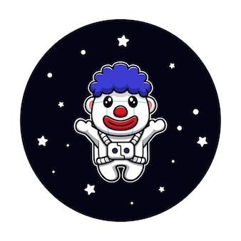 Projekt słodkiej ilustracji maskotki postaci klauna astronauty