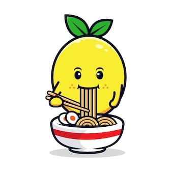 Projekt słodkiej postaci z cytryny jedzącej makaron ramen płaska maskotka ilustracja