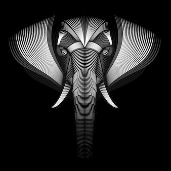 Projekt słonia. styl linoryt. czarny i biały. ilustracja linii