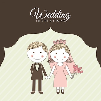 Projekt ślubu na brązowym tle ilustracji wektorowych