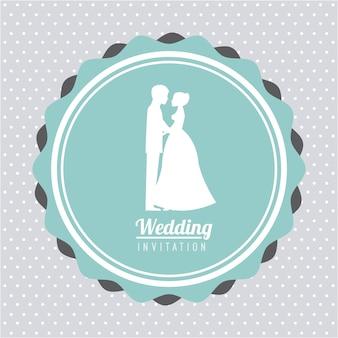 Projekt ślubu na niebieskim tle ilustracji wektorowych