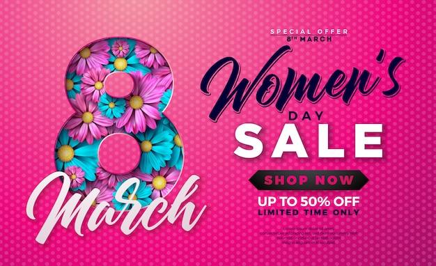 Projekt sprzedaży dzień kobiet z kwiatem na różowym tle
