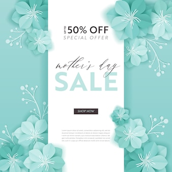 Projekt sprzedaży dzień matki. szablon transparentu promocyjnego rabatu wiosennego z kwiatami wyciętymi z papieru na ulotki, plakaty, reklamy kuponów. ilustracja wektorowa