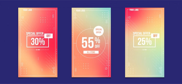 Projekt sprzedaży historii na instagramie z kolorem gradientu dla
