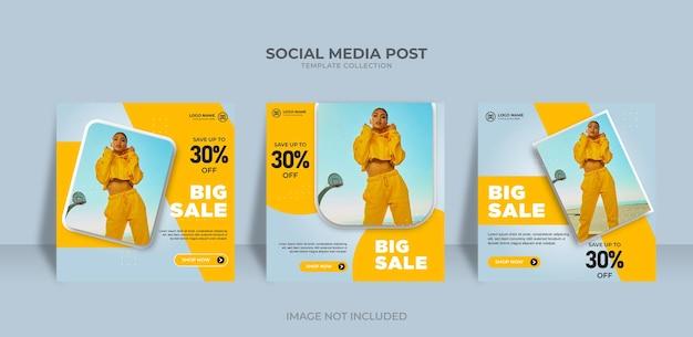 Projekt sprzedaży w mediach społecznościowych i szablon postu na instagram