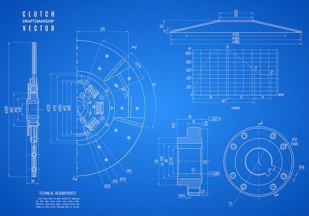 Projekt sprzęgła samochodu, szkic konstrukcyjny lub rysunek techniczny projektu na niebieskim tle.