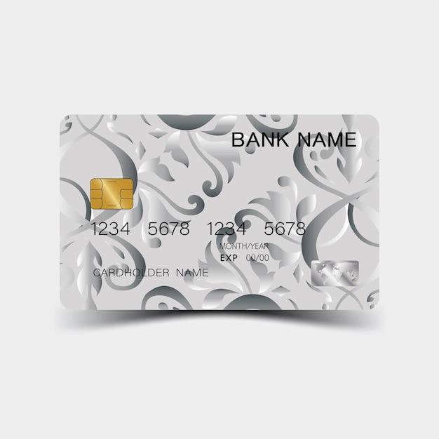 Projekt srebrnej karty kredytowej i inspiracja z abstraktu na białym tle