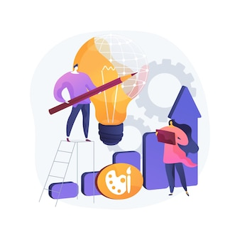 Projekt strategii abstrakcyjna ilustracja koncepcja. opracowanie planu projektu, wdrożenie pomysłu na projekt, wymagania projektowe, strona internetowa i projekt, aplikacja do rysowania