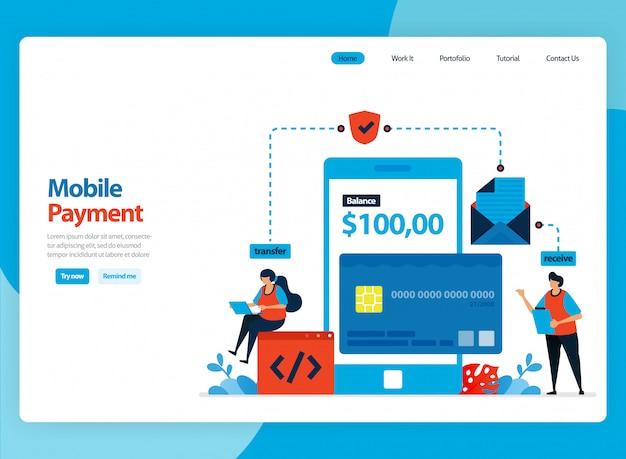 Projekt strony docelowej dla systemu płatności mobilnych i technologii ochrony bezgotówkowej. ilustracja kreskówka płaski