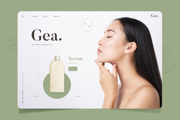 Projekt strony docelowej kosmetyków naturalnych
