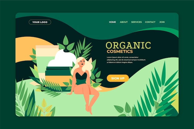 Projekt strony docelowej kosmetyków natury