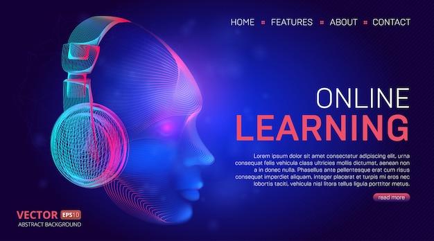 Projekt strony docelowej lub szablonu strony internetowej poświęconej edukacji online. ilustracja w stylu grafiki liniowej technologii z abstrakcyjnym cyber głowy lub twarzy w fioletowych słuchawkach na ciemnym niebieskim tle