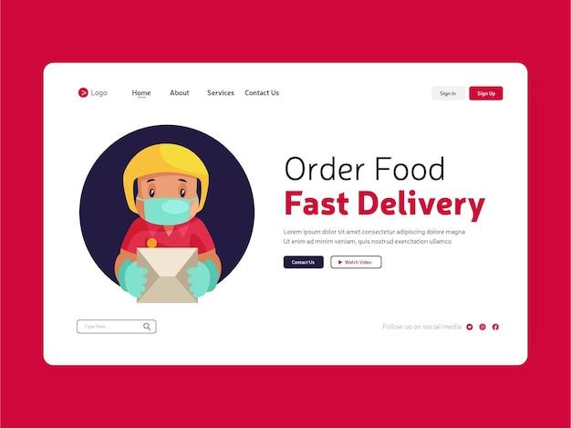Projekt strony docelowej, na której można zamówić jedzenie online w celu szybkiej dostawy