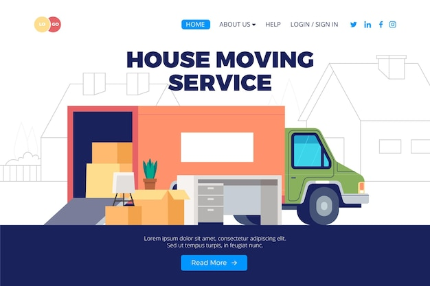 Projekt strony docelowej usług przeprowadzek domów