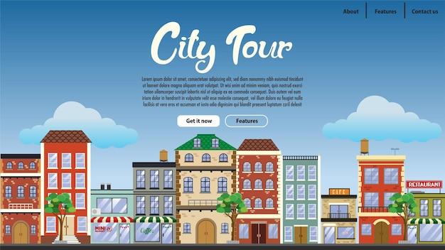 Projekt strony docelowej w centrum miasta z płaskim stylem
