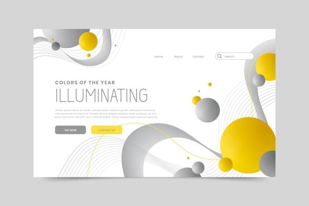 Projekt strony docelowej w kolorze żółtym i szarym
